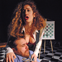 Sari Caine and Paul Rigo in <i>The Chess Lesson</i>