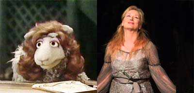 Sesame Street's Meryl Sheep side by side by Meryl Streep at the Delacorte Theater