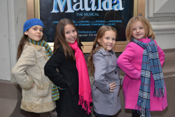 The four young stars of Matilda -- Oona Laurence, Bailey Ryon, Sophia Gennusa, and Milly Shapiro -- outside of the Shubert Theatre.