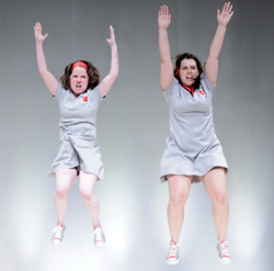 Anne Gridley and Julie LaMendola in Nature Theater of Oklahoma's <i>Life and Times</i>