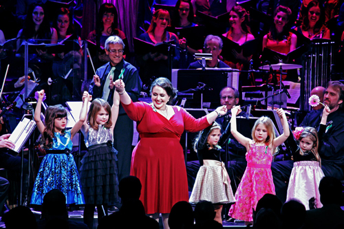<i>Hairspray</i> film star Nikki Blonsky takes a bow with some of the young performers at <i>From Broadway With Love</i>.