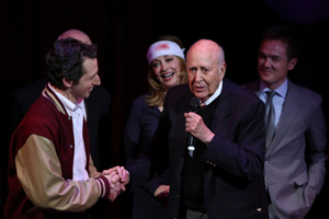 From left, cast members Josh Grisetti, Sharon Lawrence, honoree Carl Reiner and cast member Kevin Odekirk are at the curtain call for a staged reading of <i>Enter Laughing, The Musical</i> at the Mark Taper Forum on Monday, January 28.