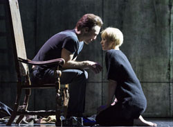 Nick Blood (Stuart Sutcliffe) and Leanne Best (Astrid Kirchherr) in <i>Backbeat</i> by Iain Softley and Stephen Jeffreys, directed by David Leveaux.