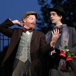 Jesse Tyler Ferguson and Hamish Linklater in Shakespeare in the Park's <i>The Merchant of Venice</i>.