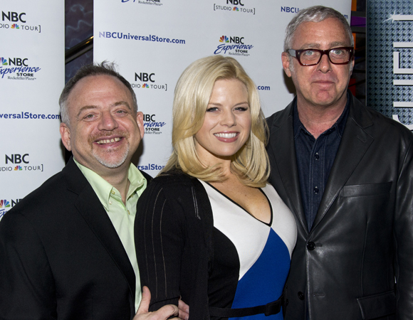 Marc Shaiman, Megan Hilty, and Scott Wittman at the <i>Bombshell</i> album signing