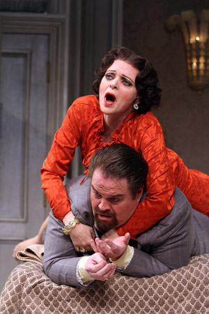 Judy Blazer and John Tracey Egan in <i>Lend Me a Tenor</i> at Paper Mill Playhouse.