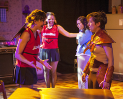 (L to R) Company Member Ellie Reed and Jessica London-Shields with (background L to R) Allie Long and Katherine Banks inBuzz22 Chicago's production of <i>She Kills Monsters</i>
