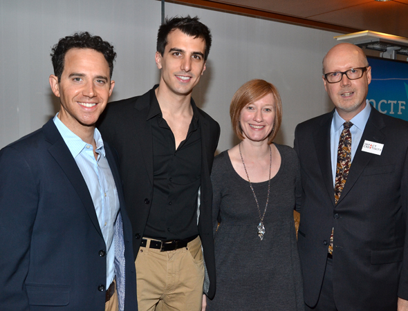 Actor Santino Fontana (<i>Cinderella</i>), playwright Paul Downs Colaizzo (<i>Really Really</i>), American Theatre Wing Executive Director Heather Hitchens, and the National Corporate Theater Fund's Executive Director Bruce Whitacre at the tenth annual NCTF Broadway Roundtable.