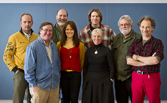 (L-R)The cast of <i>Nice Fish</i>: Jim Lichtscheidl, Bob Davis, Chris Carlson, Emily Swallow, Tyson Forbes, Claire van Kampen, Louis Jenkins, Mark Rylance.