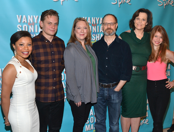 The cast of <i>Vanya and Sonia and Masha and Spike</i>: Shalita Grant, Billy Magnussen, Kristine Nielsen, David Hyde Pierce, Sigourney Weaver, and Genevieve Angelson.