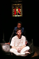 Faith Imafidon as Saint Monica and Robert Walters as Judas in <I>The Last Days of Judas Iscariot</I>
