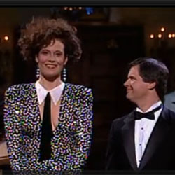 Sigourney Weaver and Christopher Durang delivering their SNL opening monologue