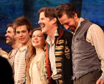 Kevin Del Aguila, Jason Ralph, Nicole Lowrance, Rick Holmes, and Josh Grisetti take their first bow at New World Stages.