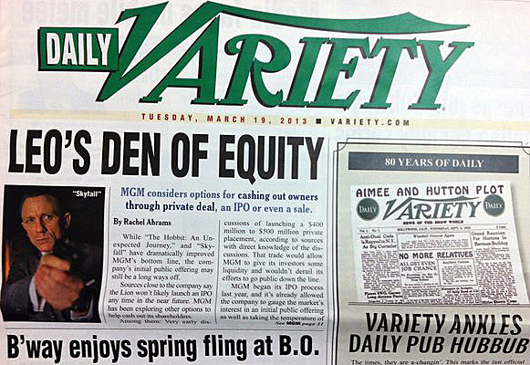 "The last print issue of <i>Variety</i>, complete with ""B'way"" nod."