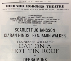 The Playbill for <I>Cat on a Hot Tin Roof</I>.<br> Look at all those producers.