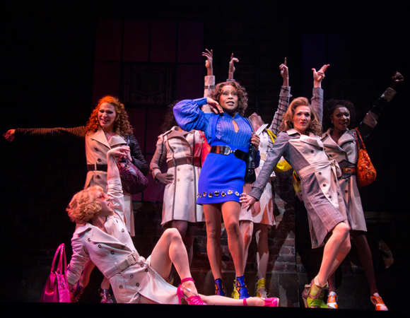 Billy Porter alongside ensemble members in Broadway's <i>Kinky Boots</i>.