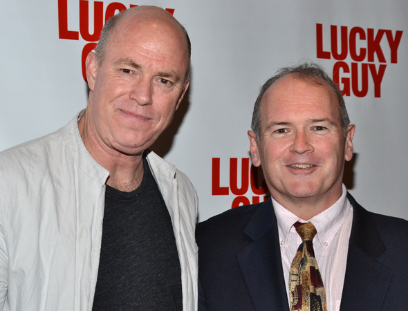 Michael Gaston smiles alongside his character's real-life counterpart, reporter Jim Dwyer.<br />(© David Gordon)