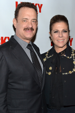 Hanks' lovely wife, actress Rita Wilson, joins her husband for a photo.<br />(© David Gordon)