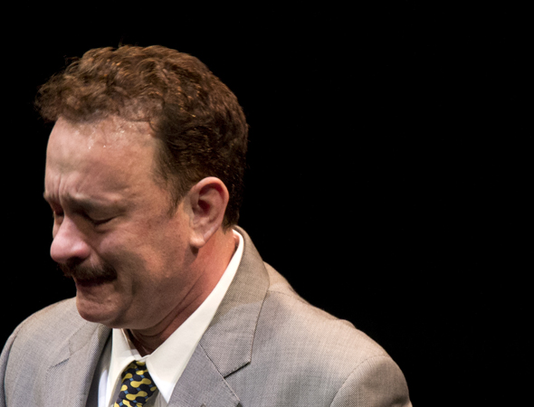 Hanks is unafraid to show his emotions as the final curtain comes down.