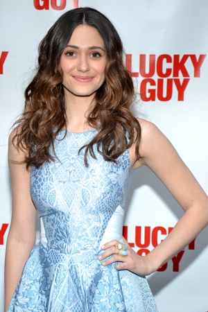 <i>Shameless</i> star Emmy Rossum braves the chilly New York night to show off her dress.<br />(© David Gordon)
