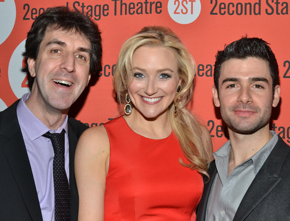 Proud writer/director Jason Robert Brown shares a photo with his stars, Betsy Wolfe and Adam Kantor.
