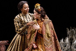 Sameerah Luqmaan-Harris as Elizabeth Keckly and Naomi Jacobson as Mary Todd Lincoln in Arena Stage at the Mead Center for American Theater's production of <i>Mary T. & Lizzy K.</i>