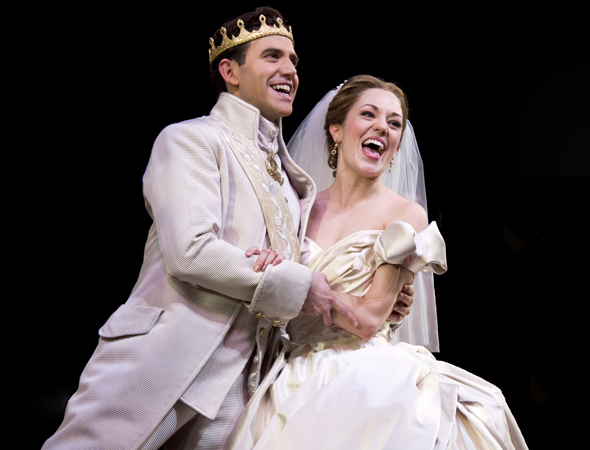 March 3 – Santino Fontana and Laura Osnes sing <i>Cinderella</i>'s grand finale on opening night.<br />(© David Gordon)