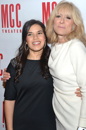March 4 – Former <i>Ugly Betty</i> costars America Ferrera and Judith Light hug at MCC Theater's annual <i>Miscast</i> benefit, where Light was honored.<br />(© David Gordon)