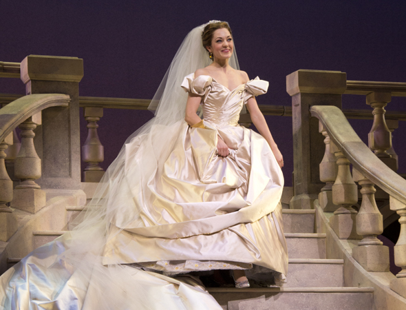 March 3 – Laura Osnes descends a grand staircase to take her curtain call on the opening night of Broadway's <i>Cinderella</i>.<br />(© David Gordon)