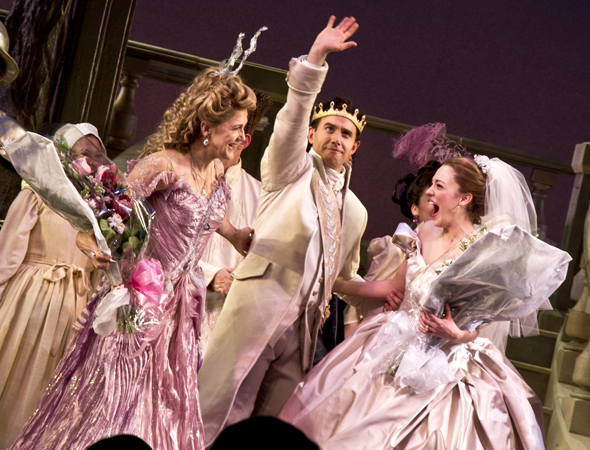 March 3 – An ecstatic Victoria Clark and Laura Osnes can't contain their enthusiasm as Santino Fontana waves to the audience.<br />(© David Gordon)