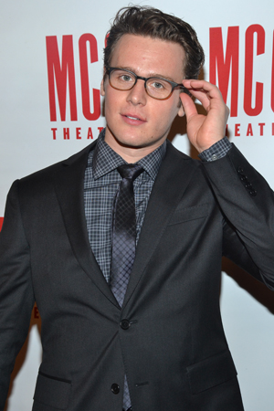 March 4 – Jonathan Groff adjusts his glasses while working the <i>Miscast</i> press line.<br />(© David Gordon)