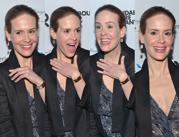 March 5 – Sarah Paulson shows off her red carpet faces at the opening of <i>Talley's Folly</i>.<br />(© David Gordon)