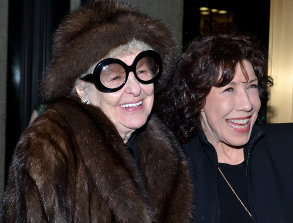 March 7 – Guests at the <i>Ann</i> opening included old pals Elaine Stritch and Lily Tomlin.<br />(© David Gordon)