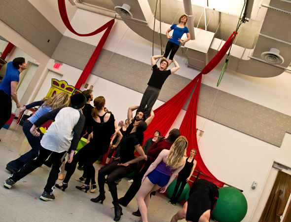 March 8 – The cast of <i>Pippin</i> show off their acrobatic skills as part of the musical's press preview.<br />(© David Gordon)