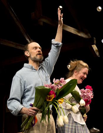 March 14 - David Hyde Pierce and Kristine Nielsen take their curtain call on the opening night of Broadway's <i>Vanya and Sonia and Masha and Spike</i>.<br />(© David Gordon)