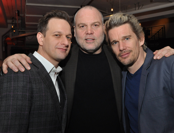 March 11 – Josh Charles , Vincent D'Onofrio, and Ethan Hawke pal around at the New Group's annual gala.<br />(© Steve and Anita Shevett)