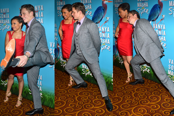 March 14 - <i>Vanya and Sonia and Masha and Spike</i> star Billy Magnussen practices his calisthenics on the red carpet.<br />(© David Gordon)