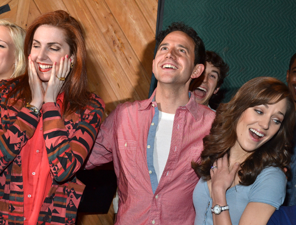 March 18 – Marla Mindelle, Santino Fontana, and Laura Osnes have fun as they record <i>Cinderella</i>'s cast album.<br />(© David Gordon)