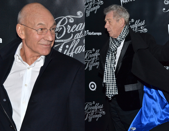 March 20 – Patrick Stewart and Ian McKellen work the red carpet at the opening of Broadway's <i>Breakfast at Tiffany's</i>.<br />(© David Gordon)