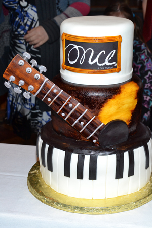 March 20 - <i>Once</i>'s intricate anniversary cake, designed by The Chocolate Swirl.<br />(© David Gordon)