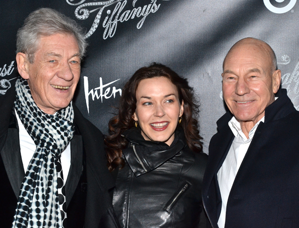 March 20 – Ian McKellen, Sunny Ozell, and Patrick Stewart smile for the cameras.<br />(© David Gordon)