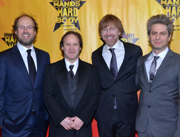 March 21 – The gentlemen of jam band Phish, Page McConnell, Jon Fishman, Trey Anastasio, and Mike Gordon, reunite to celebrate Trey's first Broadway musical, <i>Hands on a Hardbody</i>.<br />(© David Gordon)