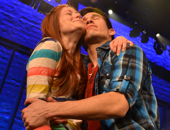 March 21 – Allison Case and Jon Rua are overcome with joy as they celebrate the Broadway opening of <i>Hands on a Hardbody</i>.<br />(© David Gordon)
