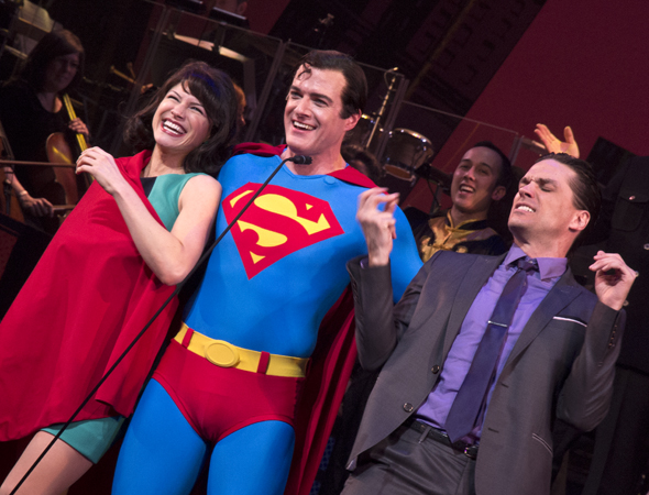 March 24 – Jenny Powers, Edward Watts, and Will Swenson take their curtain call in the New York City Center Encores! presentation of <i>It's a Bird… It's a Plane… It's Superman</i>.<br />(© David Gordon)