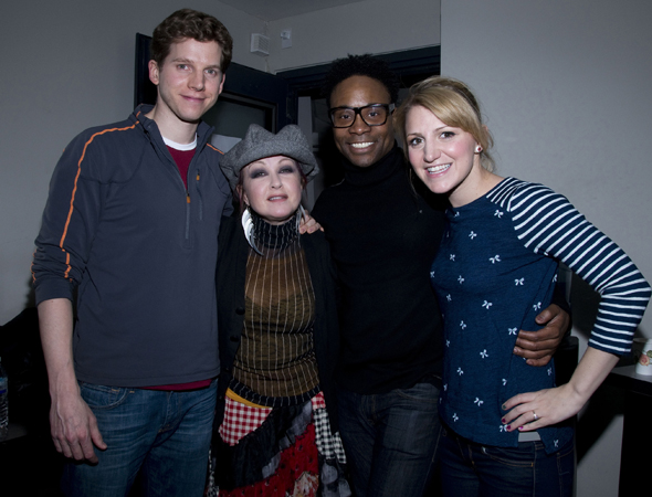 March 25 - <i>Kinky Boots</i> composer/lyricist Cyndi Lauper (second from left) shares a photo with cast members Stark Sands, Billy Porter, and Annaleigh Ashford as they record the show's upcoming album.<br />(© Monica Simoes/<i>Kinky Boots</i>)