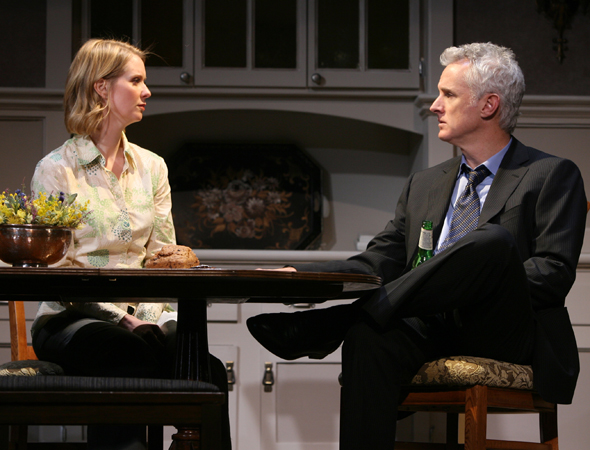 John Slattery, <i>Mad Men</i>'s suave Roger Sterling, played grieving father Howie opposite Tony Award winner Cynthia Nixon in Manhattan Theatre Club's premiere of David Lindsay-Abaire's <i>Rabbit Hole</i> in 2006.<br />(© Joan Marcus)
