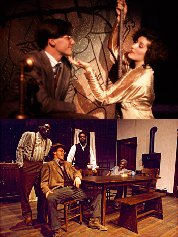 Jon Hamm hasn't starred in a Broadway show yet, but he was quite the college thespian, appearing in the University of Missouri Department of Theatre's productions of <i>Cabaret</i> (above, as Cliff), <i>Assassins</i> (as Leon Czolgosz), and <i>Joe Turner's Come and Gone</i>) (below, as Rutherford Selig).<br />(© Mike Desantis, via <i>Mizzou</i>)