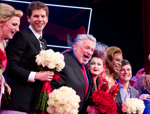 Ebullient <i>Kinky Boots</i> family members Annaleigh Ashford, Stark Sands, Harvey Fierstein, Cyndi Lauper, Billy Porter, and Stephen Oremus take a bow.<br />(© David Gordon)