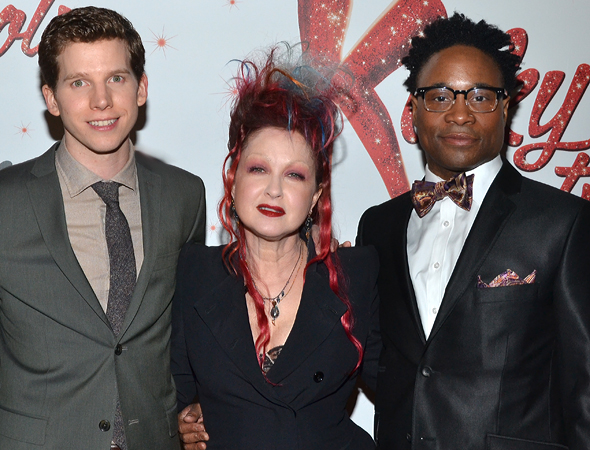 <i>Kinky Boots</i> stars Stark Sands and Billy Porter flank their composer/lyricist, Cyndi Lauper.<br />(© David Gordon)