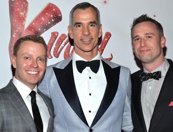 <i>Kinky Boots</i> director/choreographer Jerry Mitchell (center) smiles alongside his associate chorographer Rusty Mowery (left) and associate director DB Bonds (right).<br />(© David Gordon)
